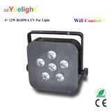 Partei-Disco-Telefon WiFi 6X12W RGBWA UVbatterieleistung flaches LED NENNWERT Licht