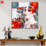 Pintura al óleo tonal roja de la mujer de la manera