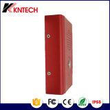 As mãos livram o telefone Emergency Knzd-13 dos telefones industriais do elevador do telefone