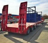 3-assen Lowbed/Lowboy de Semi Aanhangwagen met Verpakking toont