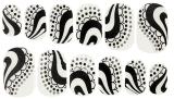Collant noir à la mode de clou de collants d'art de clou de transfert de l'eau blanche