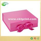 Boîte-cadeau rigide de carton fait sur commande de cube avec la bande (CKT-CB-401)