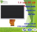 7 Scherm van de Vertoning van de duim TFT LCD 800X480 RGB 50pin 300CD/M2 TFT LCD