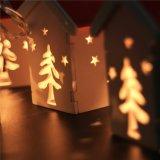 عيد ميلاد المسيح زخرفة شكل خشبيّة [فيري ليغت] في أبيض دافئة
