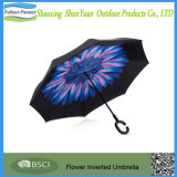 二重層のC整形ハンドルおよび運送と屋外車雨のための逆にされた傘車の逆の傘のEloverの防風の紫外線保護大きくまっすぐな傘