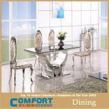 Tabella pranzante classica A8035. Tabella pranzante di vetro Tempered con i piedi dell'acciaio inossidabile