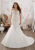 La alineada de boda de duquesa Satin Mermaid ofrece el bordado rebordeado cristal exquisito