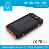 10000mAh impermeabilizan la batería portable de la energía solar para el teléfono móvil hecho en teléfono móvil de la batería portable de la energía solar de la batería de la potencia de Chinawaterproof 8000mAh