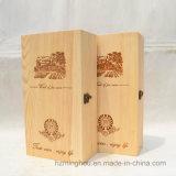 Caixa de madeira do portador da caixa do vinho da decoração do presente para o frasco duplo