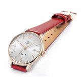 Relojes de encargo del acero inoxidable de la insignia de las señoras con la correa de cuero 71281