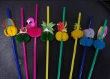 Paille flexible en plastique avec la décoration de fruit