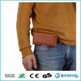 Caja de cuero horizontal del teléfono de la pistolera del clip de la correa de cintura de Brown