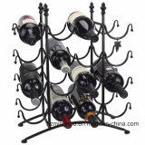 16 Garrafas French Country Stainless Metal Wine Rack Black Wire Display