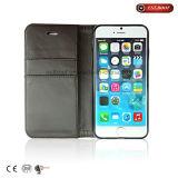 Бумажник случая телефона ткани PU+Glitter с бумажником iPhone стойки телефона