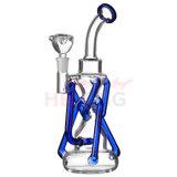 Z-Form-Glaswasser-Rohr blauer Inliner Recycler Perc Glaspfeife-Ölplattformen Waterpipe Hbking Headnectar Glaswasser-Rohr