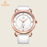 Relógios de pulso de quartzo das senhoras com a cinta de couro branca 71168