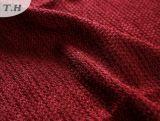 Tela roja 100% del sofá del Chenille del poliester suavemente