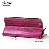 Teste padrão de madeira de Shs com a caixa do telefone do couro da ranhura para cartão para a galáxia J7 de Samsung