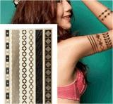 Etiqueta engomada temporal impermeable metálica de cadena del tatuaje del oro