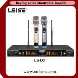 Double microphone sans fil de fréquence ultra-haute Digital des glissières Ls-Q2