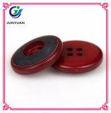 Botão de revestimento de resina redonda de 4 poços de cor vermelha