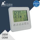 Часы таблицы станции погоды цифров с участком и сигналом тревоги луны