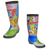 Ботинки дождя женщин естественной цветастой краски руки резиновый