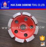 Roda de moedura dobro do diamante do copo das fileiras para a telha cerâmica