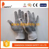 Il PVC nero punteggia entrambi i guanti Dkp228 del cotone del candeggiante dei lati