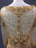 금 야회복, Prom 복장, 복잡한 구슬로 장식을%s 가진 당 가운, 결정