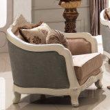 Insieme di legno del sofà del tessuto dell'oggetto d'antiquariato americano classico del sofà