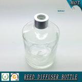 botella de lámina de cristal del difusor del claro del cilindro 500ml con el casquillo de aluminio de plata
