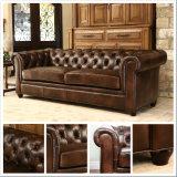 (SD-6008) Sofá de couro de madeira moderno de Chetersfield para a mobília do hotel da sala de visitas