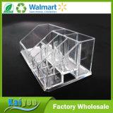 Support de balais cosmétique acrylique de renivellement d'organisateur de compartiments multiples clairs