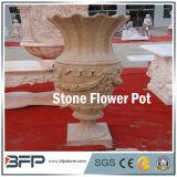 庭の装飾または景色のプロジェクトのための旧式な磨かれた黄色い石造りの植木鉢かつぼ