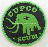Emblema tecido do vestuário roupa feita sob encomenda verde redonda