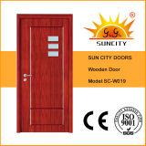 Beste Qualitätseinzelne hölzerne Tür mit Glas schob ein (SC-W019)