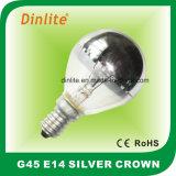 bulbo dourado da coroa de prata Incandescent de 25W 40W