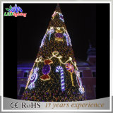 decoração de prata gigante da árvore de Natal do diodo emissor de luz 3D com luz dos flocos de neve