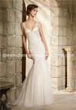 Robe de mariage sans manche de trompette de sirène de V-Collet de satin raffiné fait sur commande de lacet (Dream-100073)
