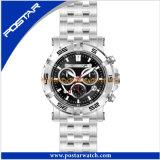 男性用水晶腕時計のステンレス鋼の背部多機能の人の腕時計
