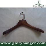 Perchas de capa de madera de la cereza de lujo con el gancho de leva plano del metal para el hombre