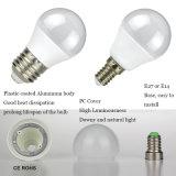 Bulbo de aluminio plástico redondo del globo del grado 3W LED de Epistar SMD2835 270 del mini golf de G45 E14 E27