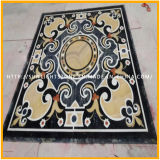 Medaglioni naturali del pavimento del marmo del getto di acqua, bordi delle mattonelle di pavimento