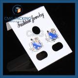 Tarjeta colgante de la visualización plástica blanca del pendiente (CMG-098)
