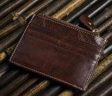 Détenteur de carte en cuir de bonne qualité en gros de clip d'argent d'unité centrale (HJ8104)