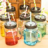 Handle Glass Drinking Jarの450ml Square Glass Mason Jar