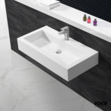 Lavabo en pierre acrylique de main de salle de bains de Corian