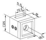 Quadratischer Rohranschluss-Querstab-Halter für Treppen-Geländer-Balustrade