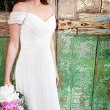 fora do vestido de casamento Chiffon branco da praia do ombro (SA003)